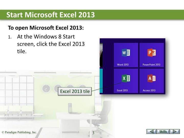 Start Microsoft Excel 2013