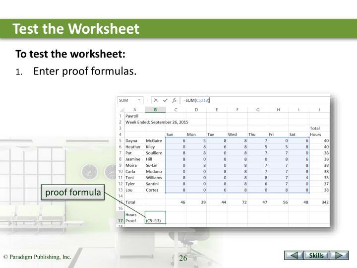 Test the Worksheet