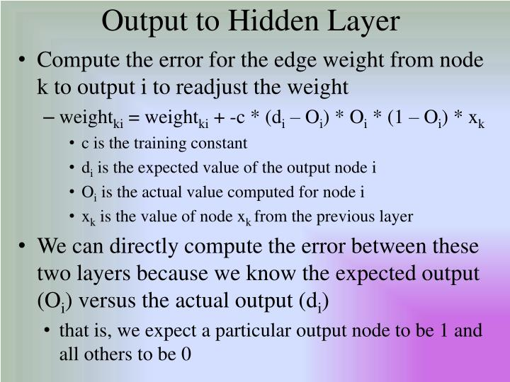 Output to Hidden Layer