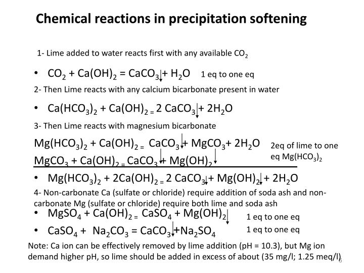 Chemical reactions in precipitation softening
