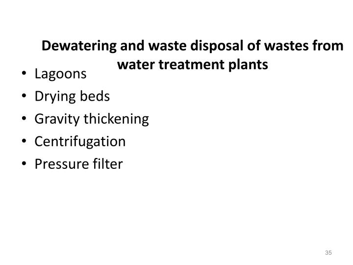 Dewatering and waste disposal of wastes from water treatment plants