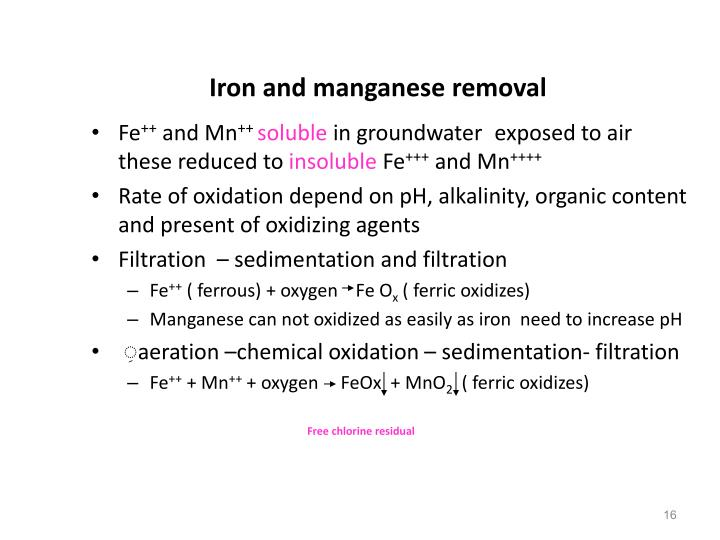 Iron and manganese removal
