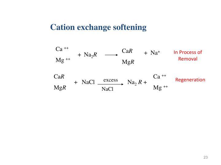 Cation exchange softening