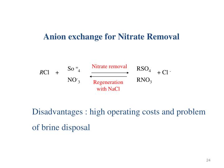 Anion exchange for Nitrate Removal
