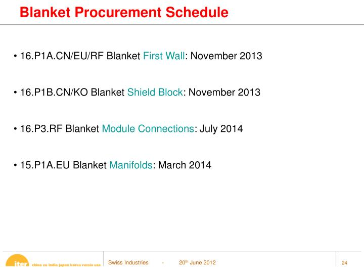 Blanket Procurement Schedule