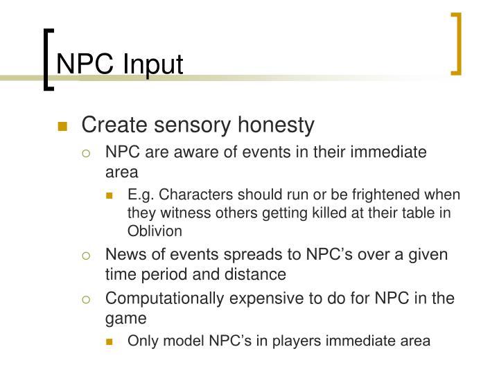 NPC Input