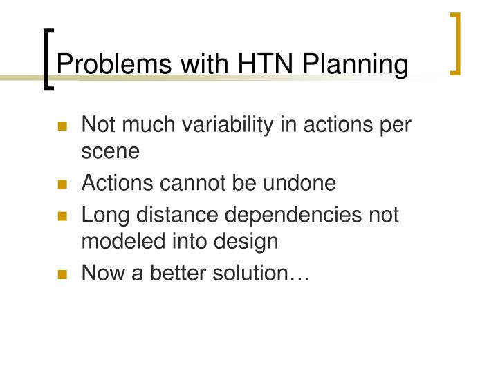 Problems with HTN Planning