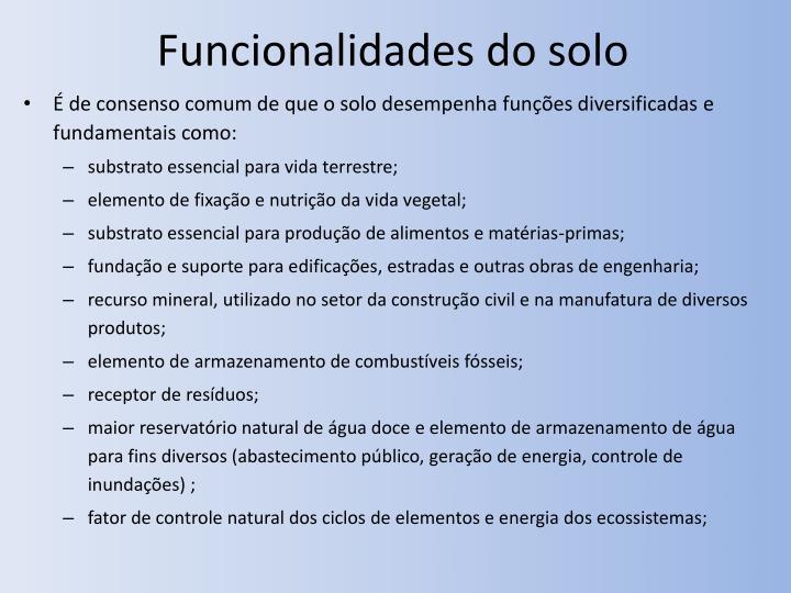 Funcionalidades do solo