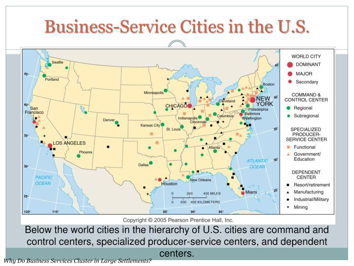 Business-Service Cities in the U.S