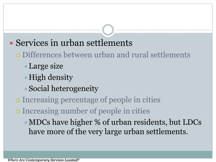 Services in urban settlements