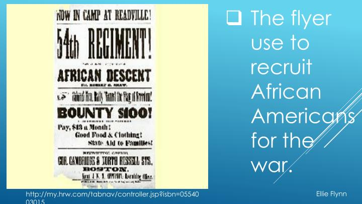 The flyer use to recruit African Americans for the war.