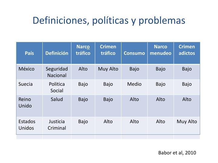 Definiciones, políticas y problemas