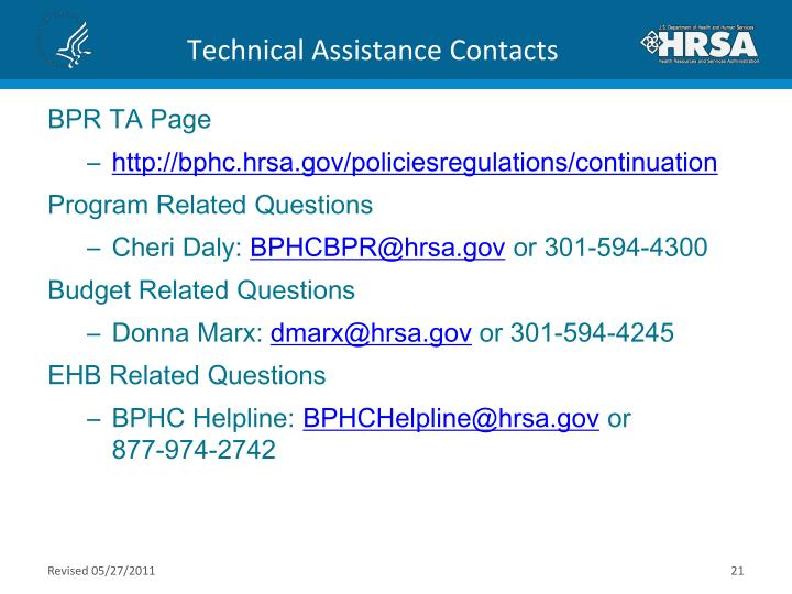 Technical Assistance Contacts