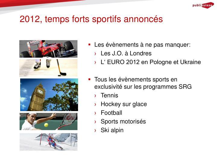 2012, temps forts sportifs annoncés
