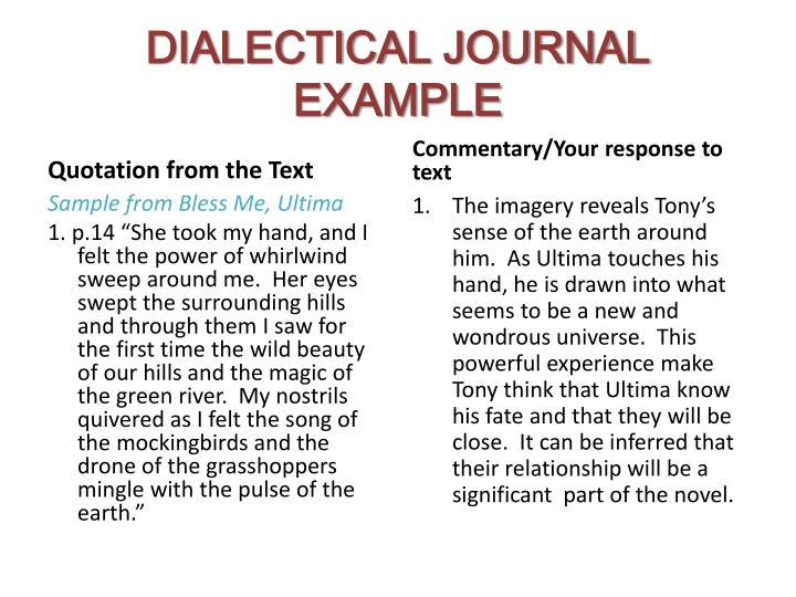 dialectical journal example Until you asked me this, i had no idea what a dialectical journal was i just researched it and thought, that's effing brilliant sorry you're.