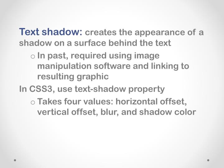 Text shadow: