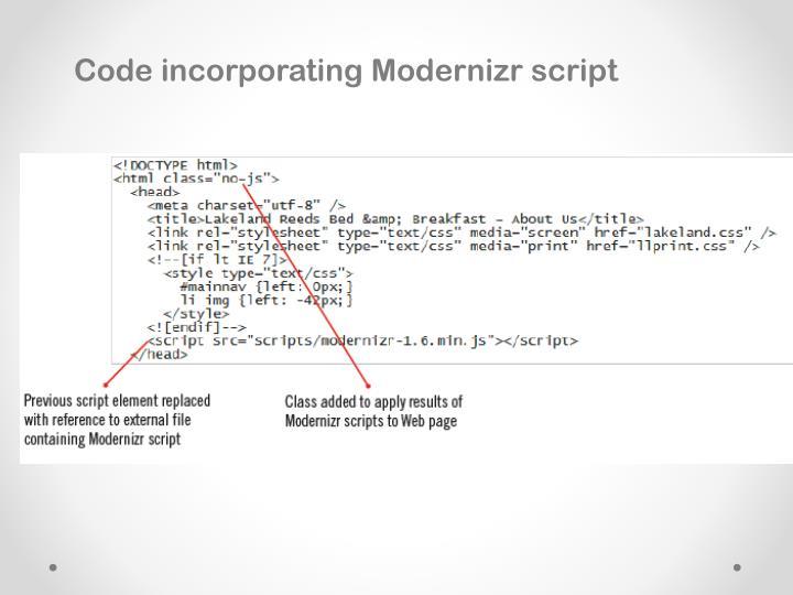 Code incorporating Modernizr script