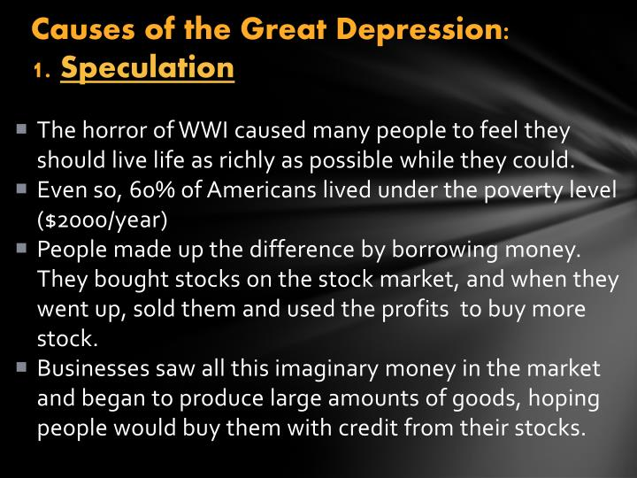Causes of the Great Depression: