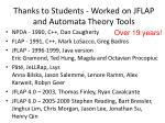 thanks to students worked on jflap and automata theory tools