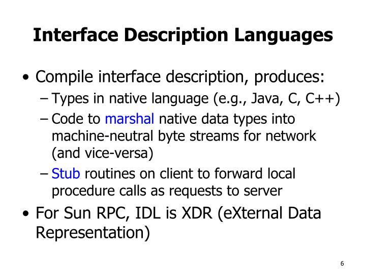Interface Description Languages