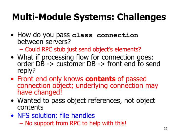 Multi-Module Systems: Challenges