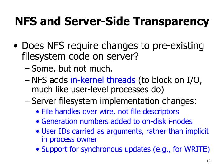 NFS and Server-Side Transparency