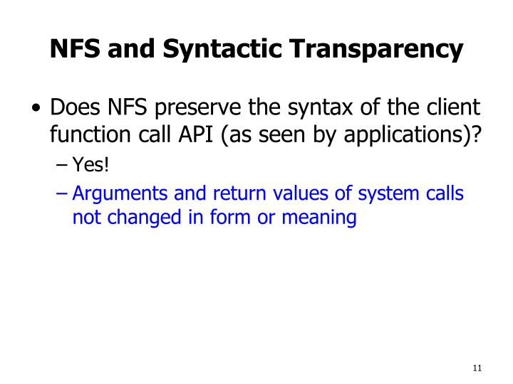 NFS and Syntactic Transparency
