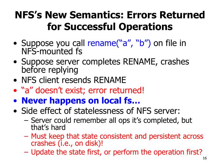 NFS's New Semantics: Errors Returned for Successful Operations
