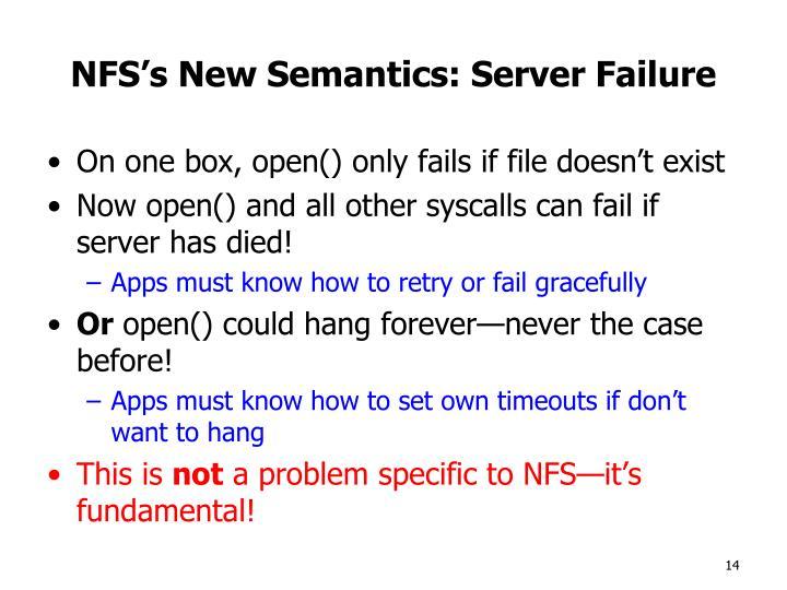 NFS's New Semantics: Server Failure
