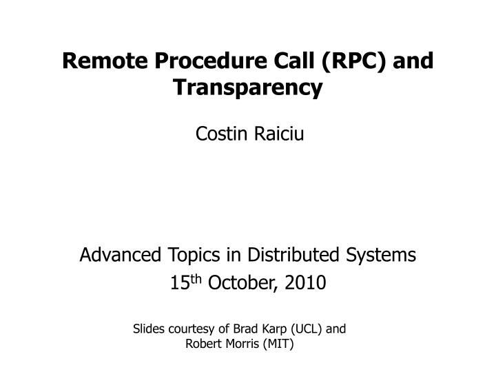 Remote procedure call rpc and transparency