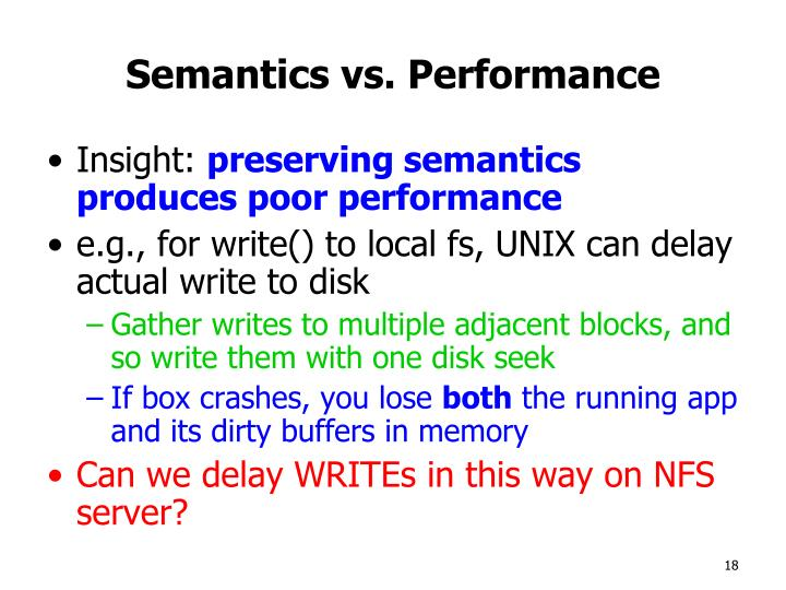 Semantics vs. Performance