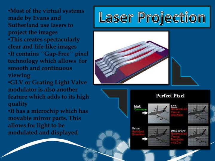 Most of the virtual systems made by Evans and Sutherland use lasers to project the images