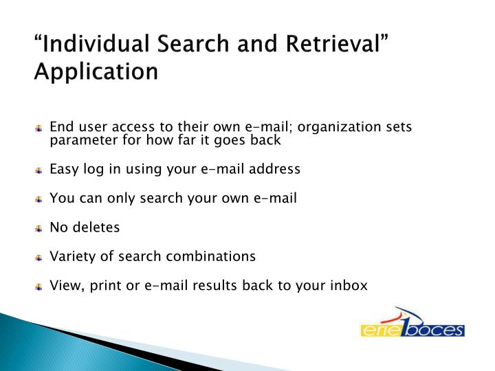 """Individual Search and Retrieval"" Application"