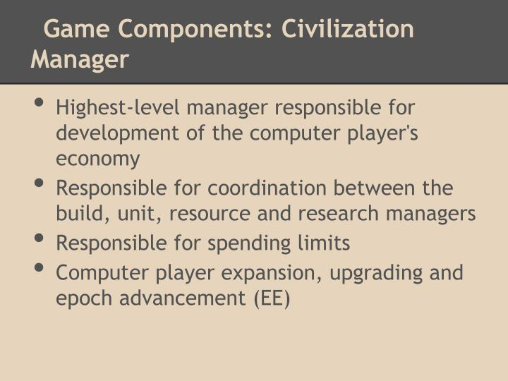 Game Components: Civilization Manager