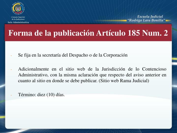 Forma de la publicación Artículo 185
