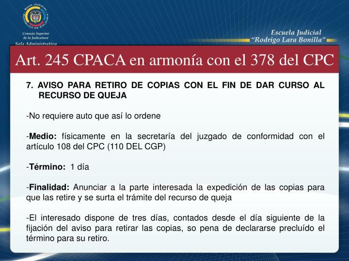 Art. 245 CPACA en armonía con el 378 del CPC