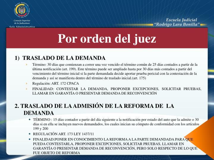1)  TRASLADO DE LA DEMANDA