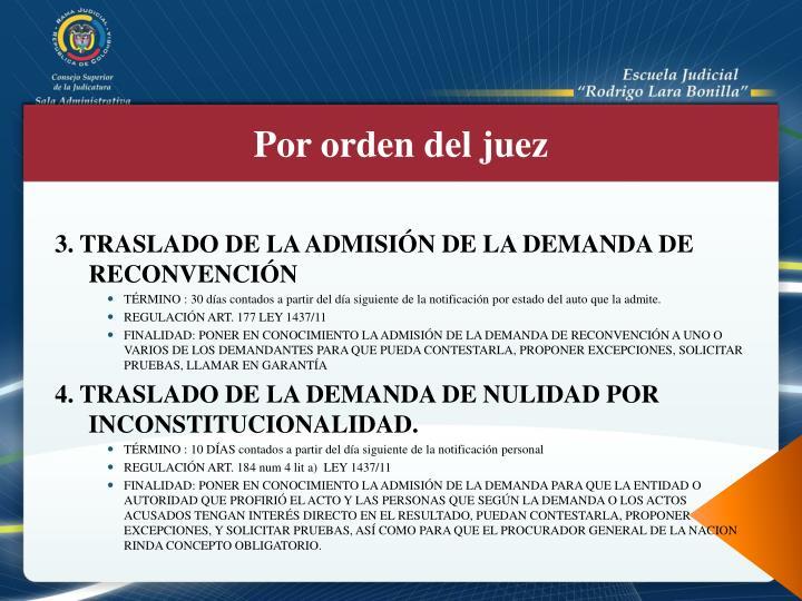 3. TRASLADO DE LA ADMISIÓN DE LA DEMANDA DE RECONVENCIÓN
