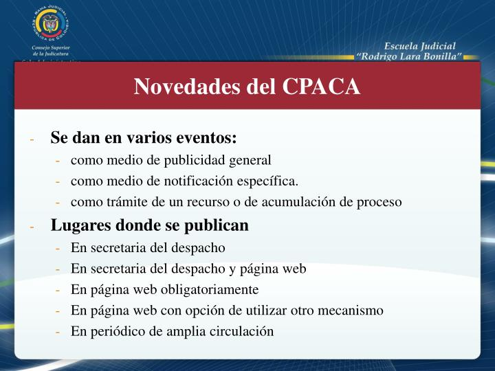 Novedades del CPACA