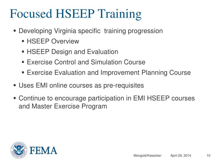 Focused HSEEP Training