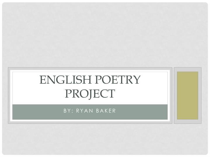 English poetry project