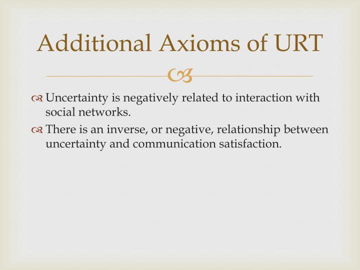 Additional Axioms of URT