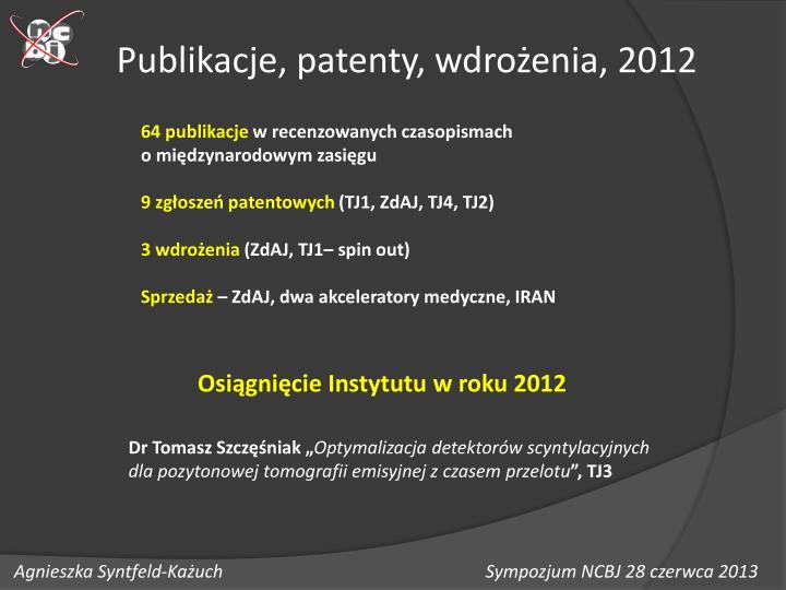 Publikacje, patenty, wdrożenia, 2012