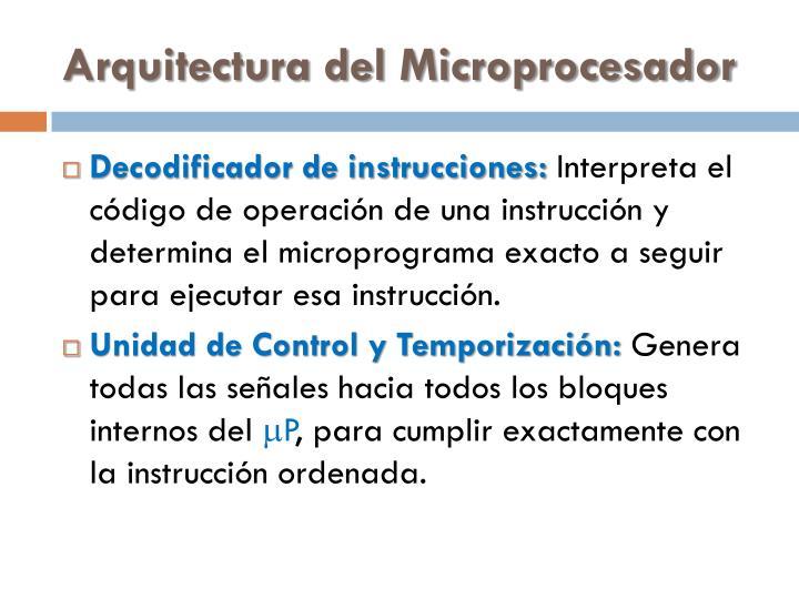 Arquitectura del Microprocesador