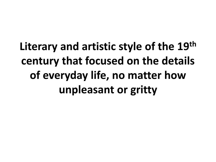 Literary and artistic style of the 19