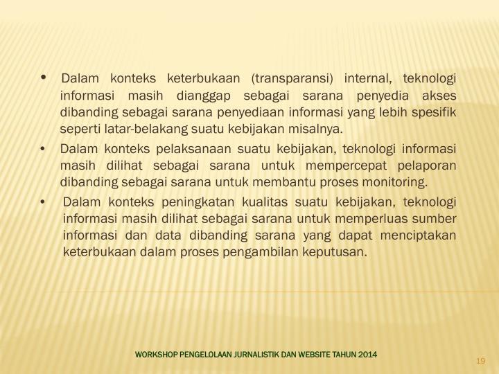 WORKSHOP PENGELOLAAN JURNALISTIK DAN WEBSITE TAHUN 2014