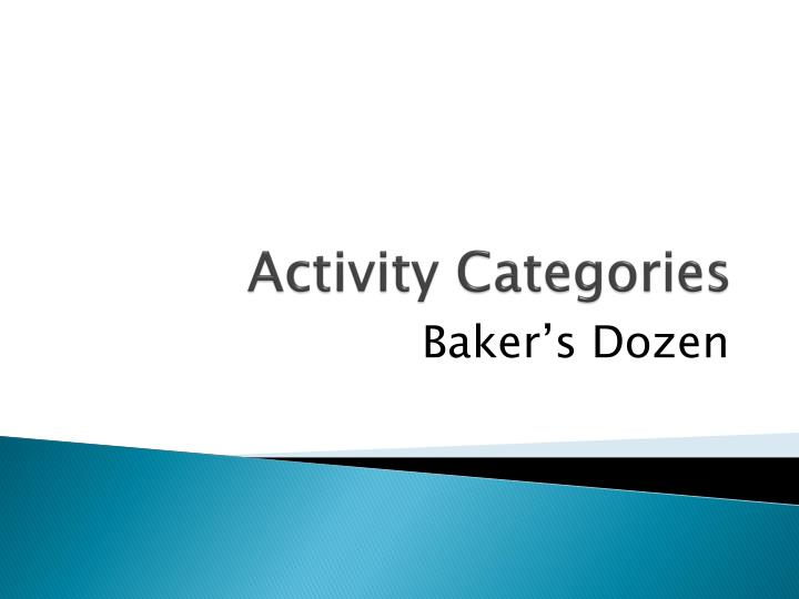 Activity Categories