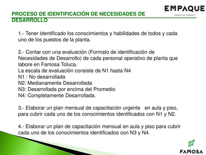 PROCESO DE IDENTIFICACIÓN DE NECESIDADES DE DESARROLLO