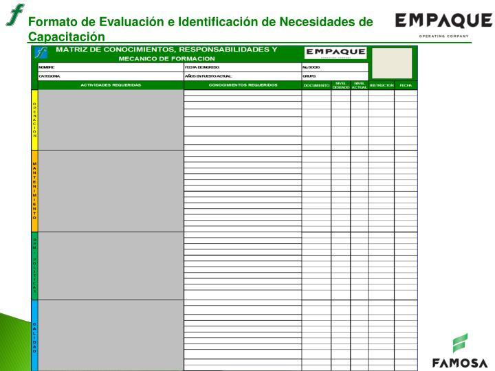 Formato de Evaluación e Identificación de Necesidades de Capacitación