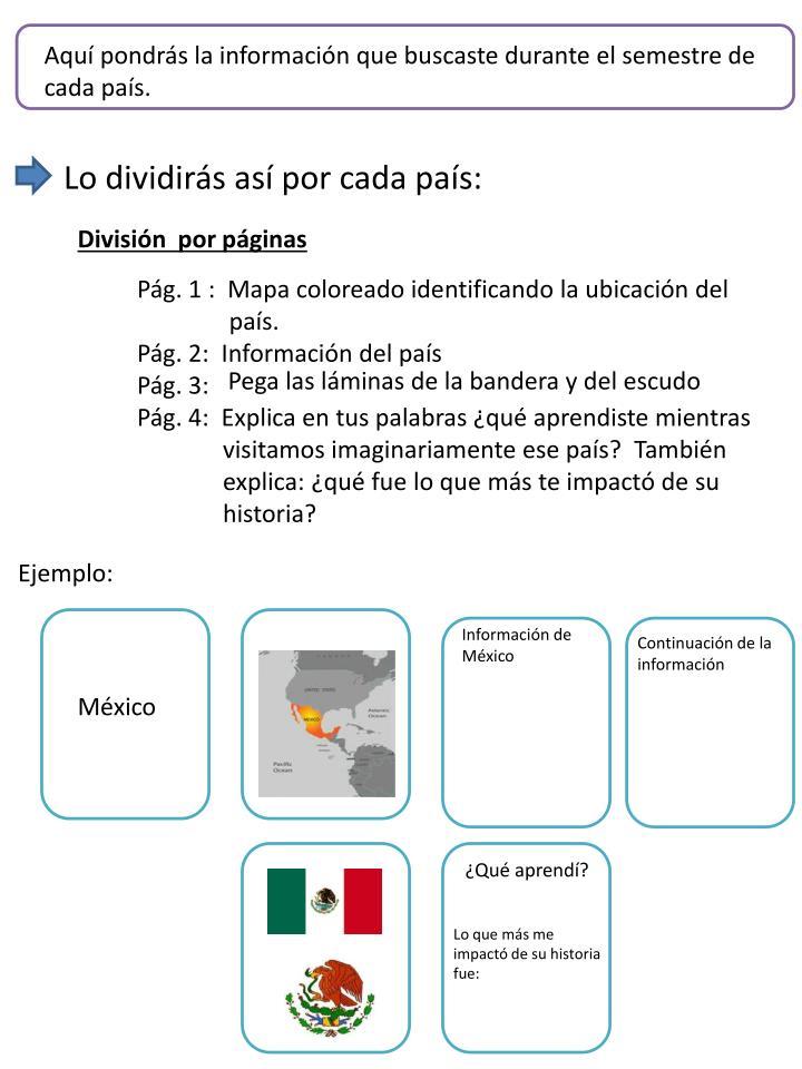 Aquí pondrás la información que buscaste durante el semestre de cada país.